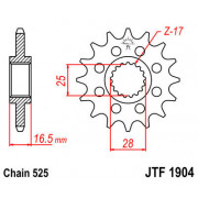 JT SPROCKETS | JTF1904.17RB FRONT RUBBER CUSHIONED SPROCKET / 17 TEETH / 525 PITCH / NATURAL / SCM420 CHROMOLY STEEL ALLOY | Art