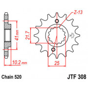 JT SPROCKETS | JTF308.15RB FRONT RUBBER CUSHIONED SPROCKET / 15 TEETH / 520 PITCH / NATURAL / SCM420 CHROMOLY STEEL ALLOY | Arti