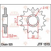 JT SPROCKETS | JTF1515.14 FRONT REPLACEMENT SPROCKET / 14 TEETH / 525 PITCH / NATURAL / STEEL | Artikelcode: JTF1515.14 | Catalo