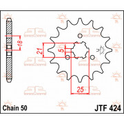 JT SPROCKETS | JTF424.16 FRONT REPLACEMENT SPROCKET / 16 TEETH / 530 PITCH / NATURAL / STEEL | Artikelcode: JTF424.16 | Catalogu