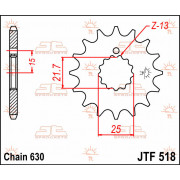 JT SPROCKETS | JTF518.15 FRONT REPLACEMENT SPROCKET / 15 TEETH / 630 PITCH / NATURAL / STEEL | Artikelcode: JTF518.15 | Catalogu