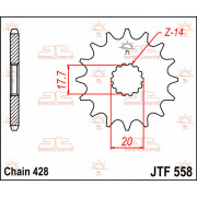 JT SPROCKETS | JTF558.15 FRONT REPLACEMENT SPROCKET / 15 TEETH / 428 PITCH / NATURAL / STEEL | Artikelcode: JTF558.15 | Catalogu
