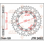 JT SPROCKETS | JTR245/2.49 REAR REPLACEMENT SPROCKET / 49 TEETH / 520 PITCH / NATURAL / C49 HIGH CARBON STEEL | Artikelcode: JTR